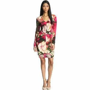 Ted Baker Tammar Twisted Front Rose Print Dress